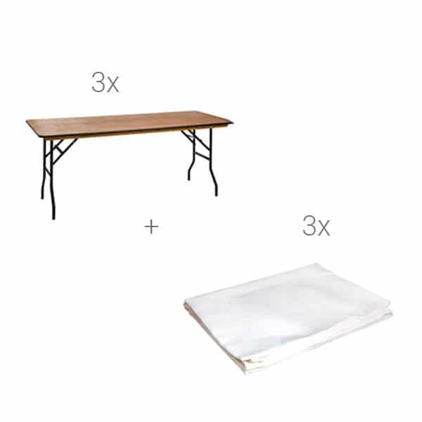 Tisch mit Tischdecke mieten