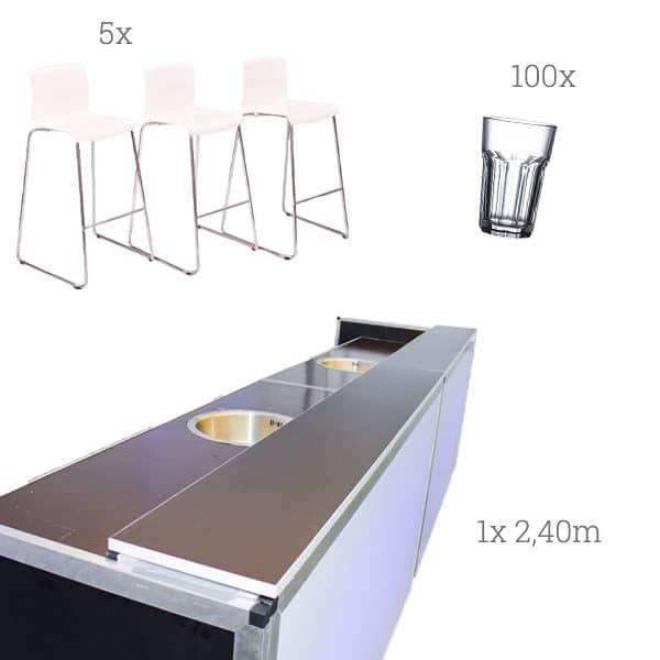Barset mit Stühlen und Gläsern mieten